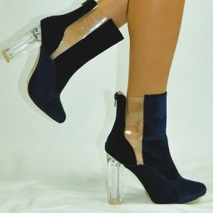 ⭐️ NEW VELVET BLUE CLEAR CHUNKY HEEL BOOTS